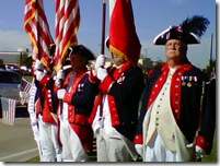 Colonial soldiers on honor guard