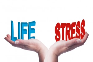 Female hands balancing life and stress 3D words conceptual image